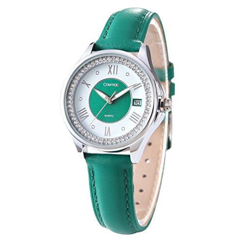 comtex-reloj-mujer-de-cuarzocorrea-de-piel-verde-reloj-elegante-relojes
