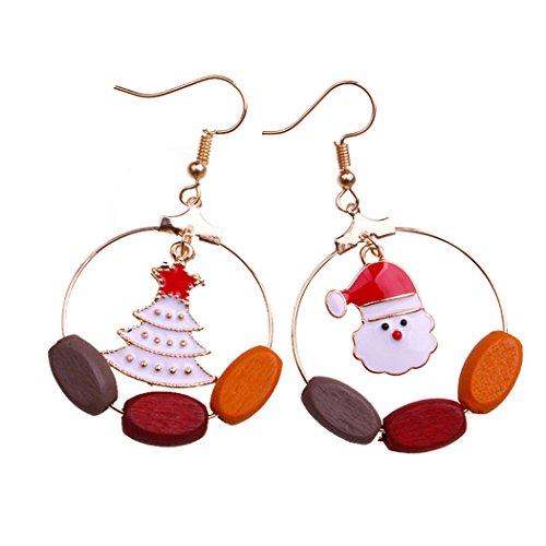 SuperCB Damen-Ohrringe, hängend, Weihnachts-Holz, bunt, niedlich, goldfarben