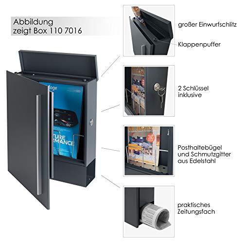 MOCAVI Box 110 Design-Briefkasten mit Zeitungsfach anthrazit-grau (RAL 7016) Wandbriefkasten, Schloss rechts, groß, Aufputzbriefkasten dunkelgrau, Postkasten anthrazitgrau modern mit Zeitungsrolle - 4