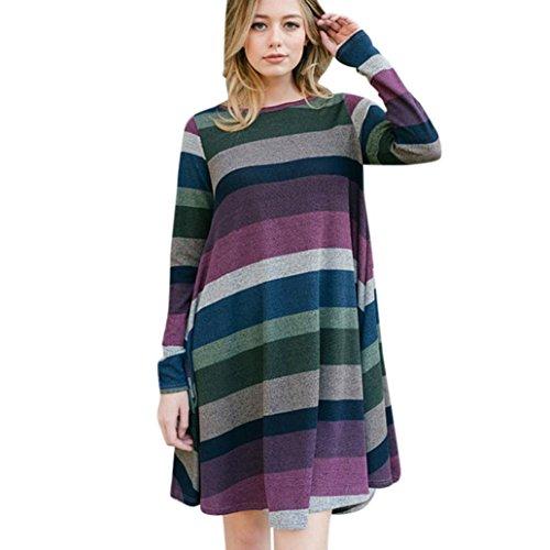 Damen Langärmliges Kleider ,TPulling Frau Mode Einfarbig Langärmliges Streifen-Farbmischkleid Gestreifte Tunika Casual Swing T-Shirt Kleid mit Taschen Abend Partykleid (Lila, L) (Streifen Kleid Shirt Lila)
