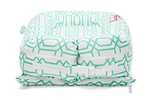 Sleepyhead Deluxe Pod Minty Trellis – Babybett/Reisebett, mint/weiß