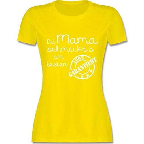 Küche - Bei Mama schmeckt's am besten - tailliertes Premium T-Shirt mit Rundhalsausschnitt für Damen Lemon Gelb