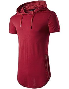 Longshirt Camiseta Con Capucha Camisetas De Manga Cortas Casual Rojo M