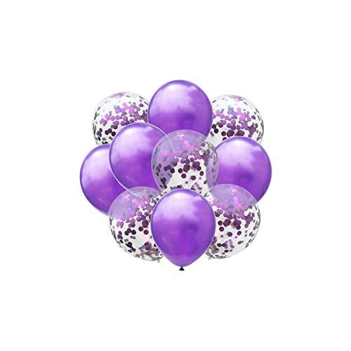 10pcs / lot 12inch Latex Luftballons und Konfetti-Geburtstags-Party-Dekorationen Mix Rose Hochzeit Dekoration Helium Ballon, Pruple und Pruple