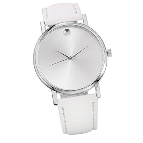 uhr damen Kolylong® 2017 Vintage Mode Frauen Lederband Analog Quartz Uhrwerk Armbanduhr für Frauen Mädchen Geschenk uhr Männeruhren Geschäftsuhren (Weiß)