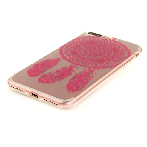 iphone 7 Plus Hülle,iphone 7 Plus Case,iphone 7 Plus Silikon Hülle [Kratzfeste, Scratch-Resistant], Cozy Hut iphone 7 Plus Hülle TPU Case Schutzhülle Silikon Crystal Kirstall Clear Case Durchsichtig,  Rose Red Campanula