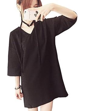 YueLian Mujeres Tela brillante Vestido de Casual Suelta de la Camiseta V-Cuello Mini Vestido de Media Mangas