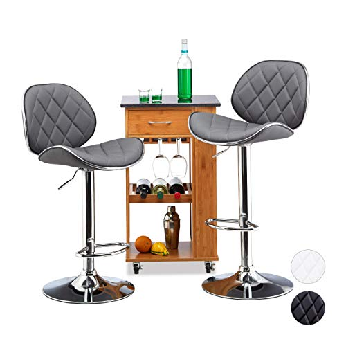 Relaxdays Barhocker 2er Set, höhenverstellbar, drehbar, mit Lehne, Kunstleder, Metall, HxBxT: 111 x 47 x 47 cm, grau