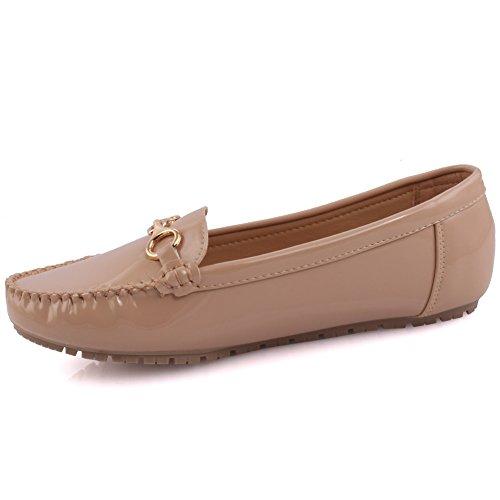 Unze Neue Damen 'Alice' Metall Detail Büro Arbeit Schule Casual Moccasin Pumps flache Schuhe UK Größe 3-8 - 6Z666-6810 Beige