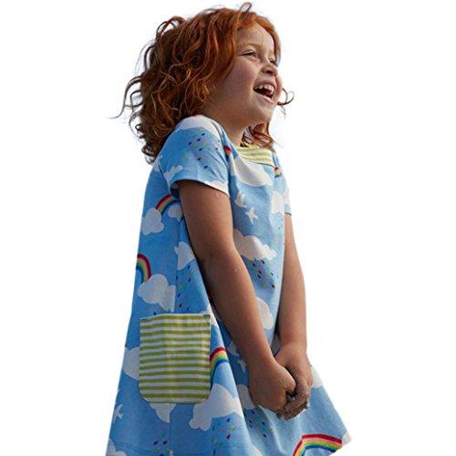 JERFER Baby Kleinkind-Mädchen Langarm Herbst Karikatur Streifen Prinzessin Kleid 1-6T (4T, D) - 4t Rock