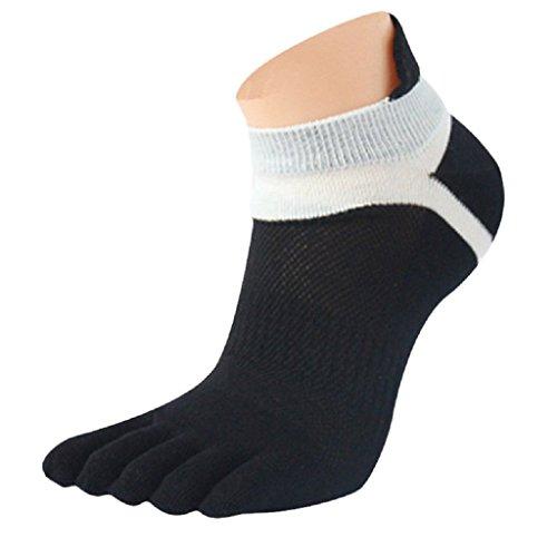 Amlaiworld 1 paar MenMesh Meias Sport laufen fünf Finger Zehen Socken (schwarz) (Hohe Unten Knöchel-länge)