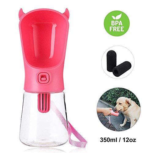 Domipet Tragbare Haustier Flasche mit 3 Filters, Hunde Trinkflasche für Unterwegs, Wasserflasch für Hunde, Katzen, Leckdichte Reisen Tiere Schüssel Dispenser, 350ml, Rosa