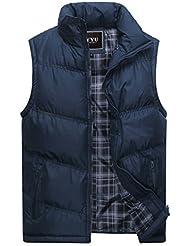 Chaleco de invierno para hombre - Otoño / Invierno Chaqueta de acolchado de Moda Abrigo acolchado a prueba de viento de cremallera Outwear negro, azul, verde oscuro