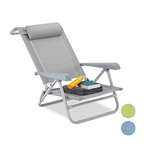 Relaxdays Liegestuhl klappbar, Nackenkissen, Flaschenöffner, 8-Stufig verstellbar, bis 120 Kg, Kunststoff, Stahl, Grau - Klapp Strand Camping Stuhl