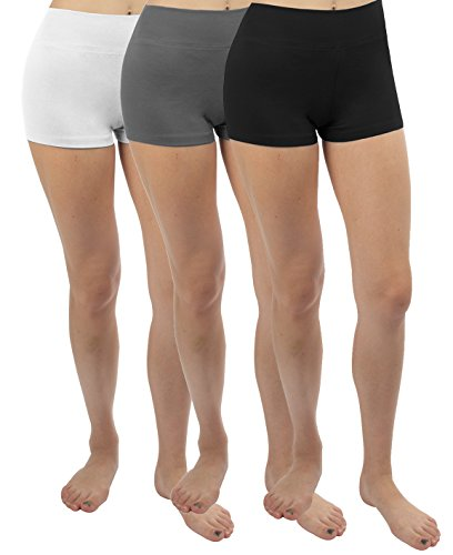 iLoveSIA® Femme short sans couture confortable shorty multiusage 3PCS Lot(Gris+Blanc+Noir)
