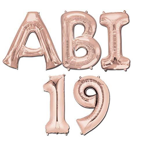 ABI 19 - XXL Folienballons goldrosé Abiball Abifeier Abitur 19 Helium Ballons Buchstaben Zahlen