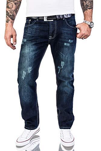 Rock Creek Herren Designer Jeans Verwaschen Used Vintage Look RC-2063 W38 L36