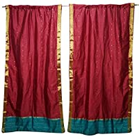 Mogul Interior Maroon Sari Curtains Rod Pockets Window Treatment Pair Gold Drapes 96x44