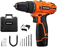 Vollplus 12V Lithium-ion Cordless Drill Kit, Variable Speed 2 Speed Mode 350-1300RPM, 17+1 Torque Positions, K