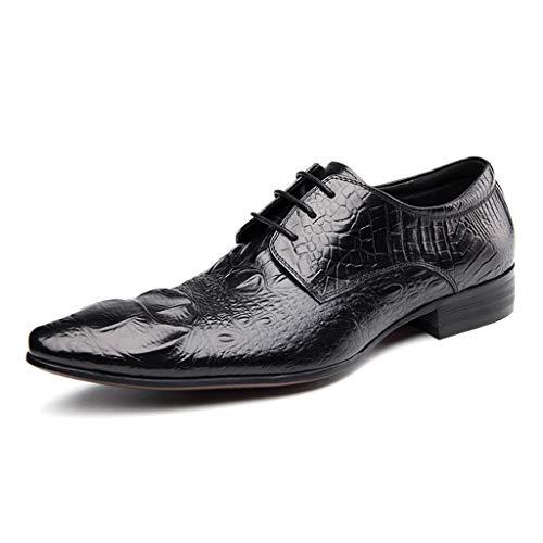 Herren Leder ausgekleidet Smart Hochzeit schnüren Sich Oben formelle Kleidung Oxfords Geschäftsarbeit Büro Schuhe Krokodil Muster schwarz rot,A- 6 UK / 40 EU -