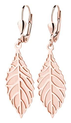 Ardeo Aurum Damen Hänge-Ohrringe aus 333 Gold Roségold Brisuren Hänger ohne Stein hochglanz-poliert oval Blatt Laub Zweig