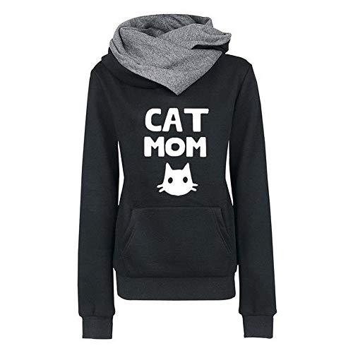 Mantel Herbst Winter Sweatshirt Steppjacke Kapuzenjacke Frau Brief Cat Print Hoodie Pullover Outwear Coats Tops Mode 2019 (Schwarz 4, XL) ()