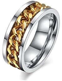 Sorella'z Mens Stainless Steel Golden Chain Ring
