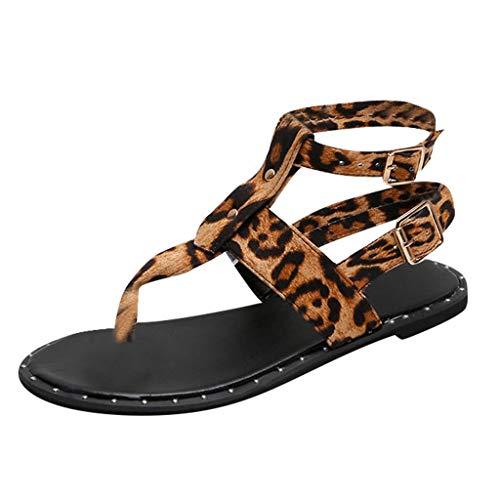 LeeMon - Sandali da donna leopardati, con aletta, alla caviglia, aperti, comodi, eleganti, Multicolore