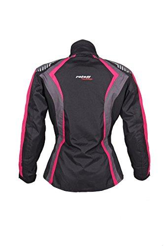 Roleff Racewear Damen Textil Motorradjacke mit Protektoren, Gute Belüftung, Taillierter Schnitt, Schwarz, Pink , Größe XXL - 3
