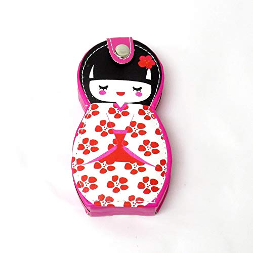 Nagelset 6teilig Japanische Puppe Kokeshi Rot Nagelschere Nagelfeile Nagelknipser
