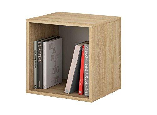 Samblo mizu cubo impilabile quadrato, legno e melammina, quercia/grigio, 40x 40x 33cm
