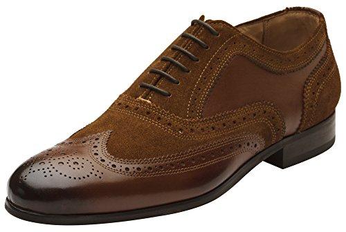 Dapper Shoes Co. Herren Brogue-Schuhe aus echtem Leder, mit Flügelspitze, mit Schnürung, Braun (Brown/Cognacsuede), 39.5 EU