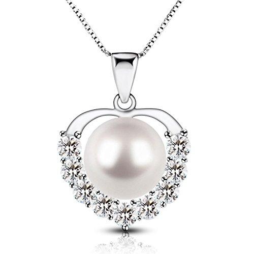 Dothnix Perle Halskette 925 Silber Schmuck Valentinstag Geschenk für Frauen Freundin Mutter (Großes Herz-ring)