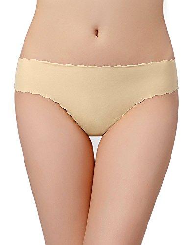 KISSLACE Damen Slip Unsichtbare Nahtlose Dehnbare Bequeme Unterhose Hipsters 6er Pack Hautfarbe B XS=EU38/40