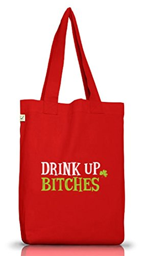 Saint Patrick´s Day St. Patricks Day Jutebeutel Stoffbeutel Earth Positive Drink Up Bitches Motiv Red