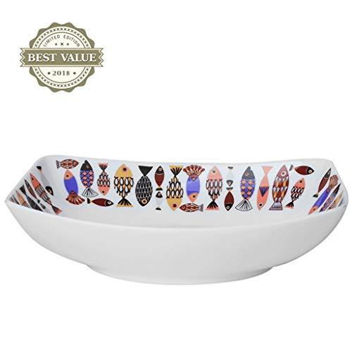 Teller Servierteller Dessert Teller Kreative Keramik rechteckige Reisschale Western Restaurantschüssel Suppenschüssel Westernnudelschüssel Home Küchenbesteckschüssel (Größe: 20,3 cm) Catering Küchensc
