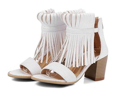 GLTER Frauen Pumps Scrubs Quasten High State Schuhe Sandalen Open Toe Schuhe Court Schuhe Beige