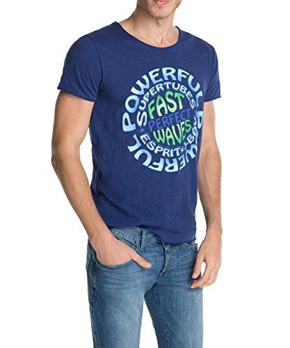 ESPRIT Herren T-Shirt mit Frontprint Blau (INSIGNIA BLUE 521)