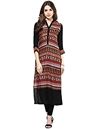 IVES Straight Black Rayon Floral Print Casual Kurti For Women