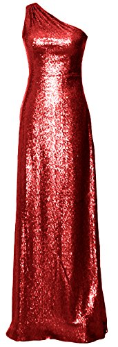 MACloth Women One Shoulder Long Bridesmaid Dress 2017 Sequin Formal Evening Gown red