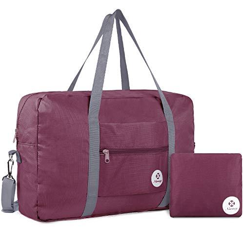 Leichte Faltbare Reisetasche Handgepäck Tasche Handgepaeck Sporttasche für Reisen Weekender Duffel Frauen und Mädchen (Weinrot) (Zusammenklappbar Duffle Bag)