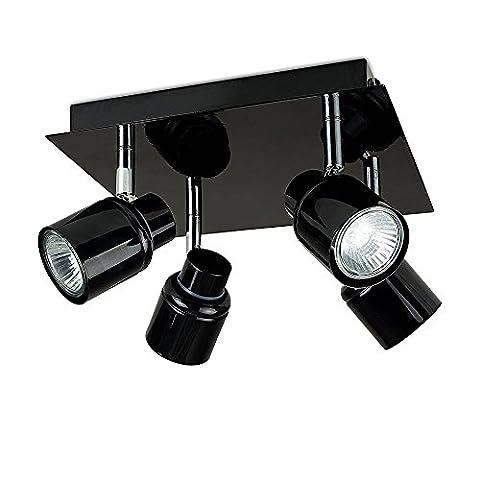 Modern Gloss Black Square Plate Adjustable 4 Way IP44 Bathroom Ceiling Spotlight