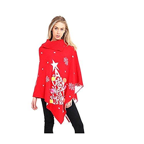JAVOX Fashion's - Poncho - Cappotto -  donna Merry Chrismas Red