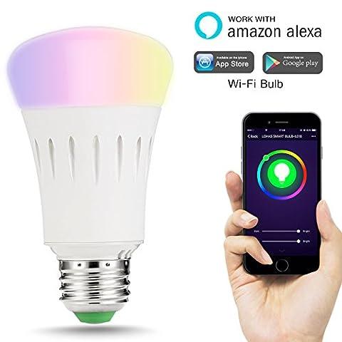 LOHAS® 9W E27 Multi Farbe Multifunktionale Smart LED Wi-Fi Lampen, mit Amazon Alexa, Ersatz für 60W Glühbirnen, 810lm, Steuerbar via App, Einstellung der Szene, intelligentes Leben, wählen Sie zuerst Smart Home