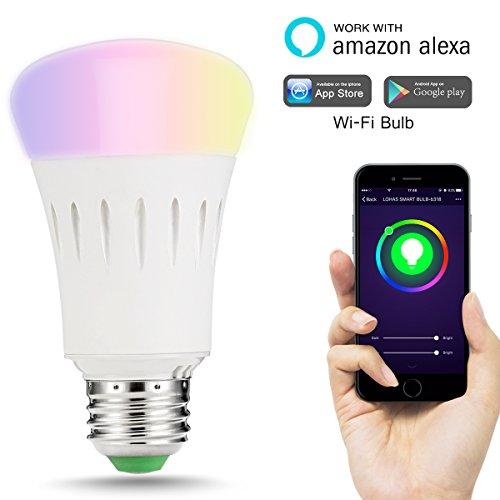 LOHAS WIFI A60 E27 Couleur Smart LED Ampoule, Fonctionne Avec Amazon Alexa, Peut Changer de Couleur, Publié un arc en Ciel de Couleurs, Pas de Connexion HUE, 9W, 60W équivalent, Contrôlé par un Smartphone, Lot de 1
