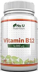Vitamin B12 1000μg - Hochwirksames B12 Methylcobalamin - 180 vegetarische Tabletten (6 Monate Vorrat) - Hergestellt in Großbritannien von Nu U Nutrition