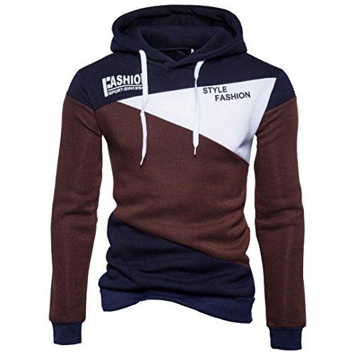LUCKYCAT Mens 'Print Brief Patchwork Hoodie mit Kapuze Sweatshirt Tops Jacke Mantel Outwear Hoodie Kapuzen (Kaffee, EU 50--L) (Kaffee-hoodie)