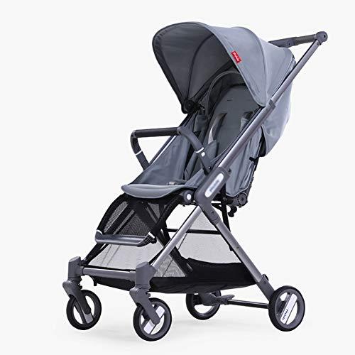 ALIFE Kinderwagen Leichte Tragbare Falten VierräDern Push Kann Sitzen Liegen Kinderwagen Regenschirm Kinderwagen Bb Auto,Gray