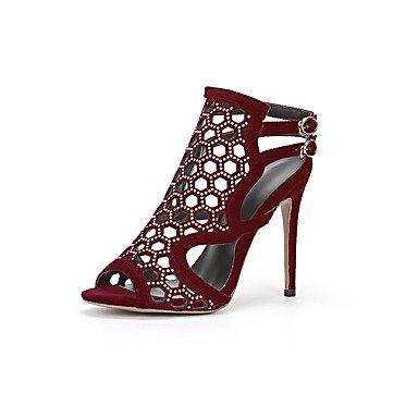 Enochx sandali da donna estate Club scarpe Gladiator pile ufficio & carriera party & sera Abito casual tacco a spillo brillantini fibbia Burgundy