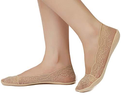 JARSEEN Damen Füßlinge Spitze Unsichtbare Ballerina Socken mit Rutschfest Silikon(4Paar ein Pack) (EU 35-38, 4Beige) -